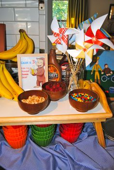 Curious George Party! Time for a Banana Split, Monkeys!  Matthew would have loved this party...probably still would!