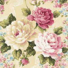 """7.5""""~FUSSY CUT PINK ROSES~USE AS FOCAL POINTS IN YOUR QUILTS~PILLOWS~TOTES~#754"""