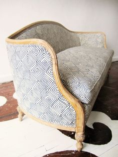 Paint modern tribal pattern in gold & embroider loose running stitch on chairs for modern swedish meets tribal