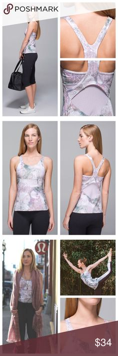 Lululemon Sugar crush Silver Fox Crossback Tank 4 Excellent condition. Size 4 size dot verified. No pads.   Key features cottony-soft Luon® fabric is four-way stretch and wicks sweat added LYCRA® fibre bends with you and stays in great shape strategically placed Mesh panels give you a little extra airflow tight fit and hip length help this tank stay in place built-in bra pockets for optional, removable cups imported  Fit + function designed for: yoga fabric(s): Luon® fit: tight shelf bra…