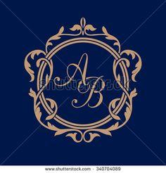 Elegant Floral Monogram Design Template One Stock Vector (Royalty Free) 340704089 Monogram Signs, Monogram Alphabet, Monogram Logo, Wedding Logos, Monogram Wedding, Monogram Template, Stylish Alphabets, Alphabet Wallpaper, Embroidery Letters