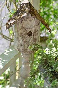 Birdhouse on porch