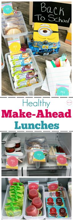 Quick & easy tips to pack a healthy lunch everyday! Make ahead lunches and label system so kids can pack their own healthy lunch! ad