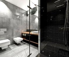 salle de bain noir, blanc et gris avec dalles simili béton et mosaique noire