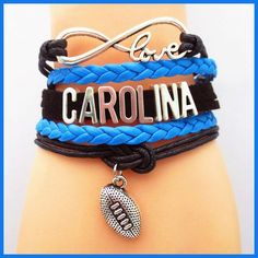 Carolina Panthers Infinity Bracelet 5 Layer Wrap Cord Football Fans Nfl 2016