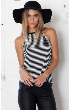 Girls Club top in black stripe