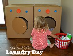 laundry day pretend play with diy washer and dryer