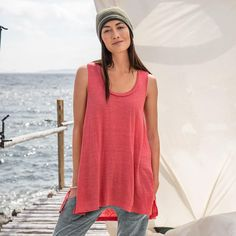 """White?  BEGUILING BEAUTY TANK--Feel like a goddess in our flowing linen tank, with beautiful braided neckline. Machine wash. Imported. Exclusive. Sizes XS (2), S (4 to 6), M (8 to 10), L (12 to 14), XL (16). Front approx. 26""""L."""