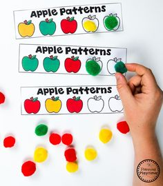 This activity encourages learners to understand patterns, relations, and functions by continuing the apple pattern that has been started on the paper. Preschool Apple Activities, Preschool Apple Theme, Preschool Centers, Preschool Lesson Plans, Preschool Curriculum, Fall Activities For Preschoolers, Apple Theme Classroom, Preschool Apples, Alphabet Activities