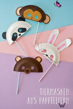 #basteln #familiede #Fasching #für #Tiermasken Süße Tiermasken basteln: Welche ist dein Liebling?<br> Kids Crafts, Easter Crafts, Diy And Crafts, Wood Crafts, Paper Plate Crafts For Kids, Decor Crafts, Funny Crafts For Kids, Pot Mason Diy, Mason Jar Crafts