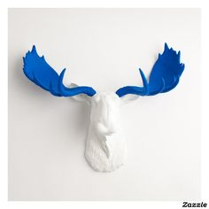 White Faux Moose Head with Blue Antlers,made by White Faux Taxidermy