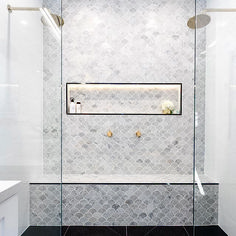 Fish scale tile, also known as mermaid tile. Beautiful modern bathrooms and kitchens Fish scale tile, also known as mermaid tile. Beautiful modern bathrooms and kitchens Bad Inspiration, Bathroom Inspiration, Bathroom Trends, Bathroom Interior, Bathroom Remodeling, Small Bathroom Ideas Uk, Bathroom Inspo, Bathroom Styling, Bathroom Designs