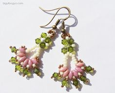 Superduo, Bicons and Seed Beads Earrings