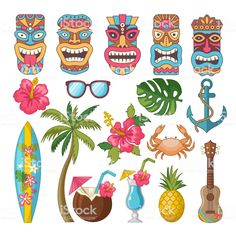 Buy Tribal Symbols of Hawaiian and African Culture by ONYXprj on GraphicRiver. Tribal symbols of hawaiian and african culture. Vector african hawaii totem, mask of tribal culture tiki illustration Luau Theme Party, Hawaiian Party Decorations, Aloha Party, Hawaiian Luau Party, Hawaiian Birthday, Hawaiian Tiki, Hawaiian Theme, Hawaiian Tribal, Luau Birthday