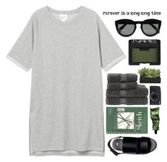 """""""Forever is a long, long time..."""" by fashionlover2157 ❤ liked on Polyvore featuring Monki, Christy, Lux-Art Silks, Fujifilm, Aesop, NARS Cosmetics, H&M, CÉLINE, GREEN and blackandwhite"""