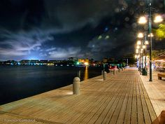 The riverfront boardwalk in Cancun, Mexico.