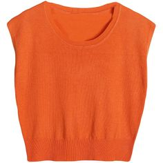 Orange Womens Crew Neck Cropped Sleeveless Plain Crop Top ($10) ❤ liked on Polyvore featuring tops, crop top, orange, sleeveless tops, orange tank, sleeveless tank tops and crew neck tank