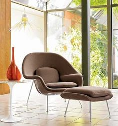 in 1946  Florence Knoll challenged Finnish-born architect and designer Eero Saarinen to create a chair that she could curl up in - he did and the Womb Chair was born... the inviting, lap-like form continues to be one of the most iconic and recognized representations of mid-century Scandinavian design...
