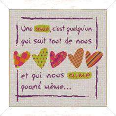 """Lilipoints - Bonheur """"un amie c'est quelqu'un qui sait tout de nous et qui nous aime quand même..."""" 194 x 183 points F010"""