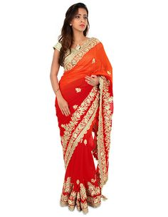 G3 Exclusive red saree specially designed for weddings and ceremonies. Product code - G3-WSA9488