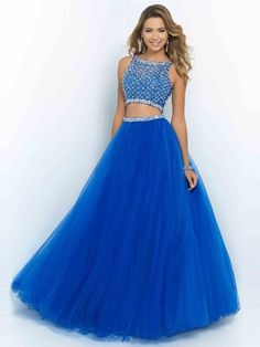 $179.99 Two Piece Ball Gown High Neck Sleeveless Beading Floor-length Organza Dresses