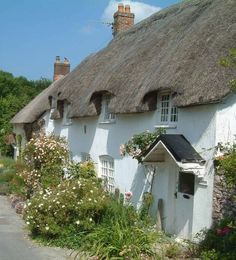 Piddletrenthide, Dorset. ----- population 647 in 2011. This village got its unusual name because it is by the River Piddle. The name of the village made me smile, but the River Piddle made me howl. I do love the pretty cottage. (info from Wikipedia)