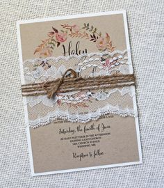 Rustic Wedding Invitation Lace Wedding by LoveofCreating on Etsy