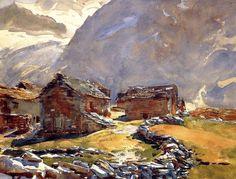 John Singer Sargent (1856 - 1925, USA) Simplon Pass. Chalets. 1911 watercolor on paper. 40.0 х 52.1 cm. (15 3/4 х 20 1/2 in.)