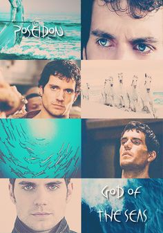 """GREEK MYTHOLOGYMEME:7/?  ∟Henry Cavill asP O S E I D O N  God of the sea, rivers, floods, droughts, earthquakes, and the creator of horses; known as the """"Earth Shaker"""". He is a son of Cronos and Rhea, brother to Zeus and Hades. He rules one of the three realms of the universe as king of the sea and the waters. In classical artwork, he was depicted as a mature man of sturdy build with an often luxuriant beard, and holding a trident. The horse and the dolphin are sacred to him."""