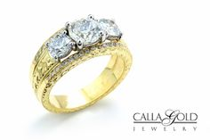 I love the look of this hand engraving on yellow gold. Design by Calla Gold Jewelry. Gold Jewelry, Jewellery, Gold Hands, Hand Engraving, Diamond Are A Girls Best Friend, Diamond Bands, Diamond Engagement Rings, Diamonds, Wedding Rings
