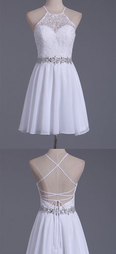 White Halter Homecoming Dresses A Line Chiffon & Lace Short/Mini dress, Shop plus-sized prom dresses for curvy figures and plus-size party dresses. Ball gowns for prom in plus sizes and short plus-sized prom dresses for Women's Dresses, Elegant Dresses, Cute Dresses, Evening Dresses, Fashion Dresses, Bridesmaid Dresses, Summer Dresses, Wedding Dresses, White Homecoming Dresses