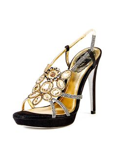 Embellished Glitter Platform Sandal from René Caovilla on Gilt