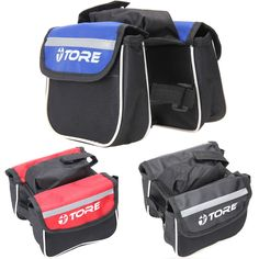 Bicycle Cycling Frame Front Tube Saddle Bags Handlebar Pannier Both Side Double Pouch Phone Bag Bike Bags Bicycle Accessories