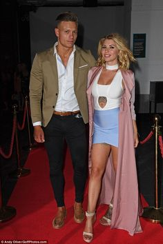 Lovebirds: Love Island couple Olivia Buckland and Alex Bowen put on a very amorous display. Love Island Couples, Alex And Olivia, Alex Bowen, Olivia Buckland, Enjoy Girl, Smart Casual Men, Blazer With Jeans, Stylish Mens Outfits, Girls Night Out