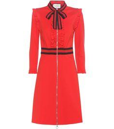 Rot-navyfarbenes Kleid aus Crêpe mit Schluppe