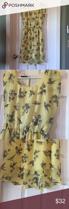 Maurice's yellow bird dress small Size small. Perfect condition. Maurice's pale yellow flowy dress with cute birds. Very classic style dress. Maurices Dresses Midi