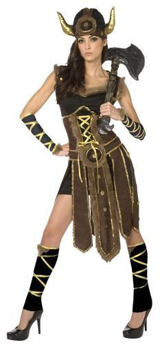 Va va voom! This listing is for Striking Viking Adult Costume. Costume Includes dress with faux fur trim, lace-up bodice detail and slat-style skirt overlay. Arm and leg ties are also included in this