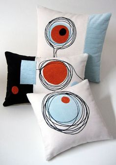 Modern Geometric Pillows--red, baby blue and black