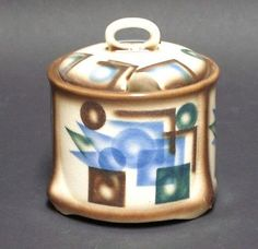 Vintage Airbrush Spritzdekor Art Deco Pottery German Condiment Jar Foreign