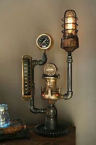 (via Steam Gauge Gear Plumbing Lamp Light Industrial Art Machine Age Steampunk Tycos Steampunk House, Steampunk Design, Steampunk Lamp, Lampe Tube, Steampunk Furniture, Car Part Furniture, Furniture Ideas, Industrial Lighting, Industrial Pipe