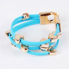 Sweet Heart Layered Leather Chain Bracelet For Women