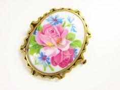 Vintage Limoges Porcelain Rose Flower Brooch by GrandVintageFinery
