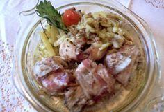 Baconba göngyölt nyúlgerinc Potato Salad, Ale, Potatoes, Meat, Chicken, Ethnic Recipes, Food, Ale Beer, Potato