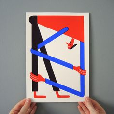 """Workout"" Screenprint via Zebu. Click on the image to see more!"