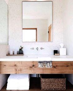 Bathroom Decor marble Bathroom design with wood vanity and white marble backsplash Wood Bathroom, Bathroom Renos, Bathroom Inspo, Bathroom Interior, Bathroom Inspiration, Bathroom Storage, Master Bathroom, Design Bathroom, Bathroom Vanities