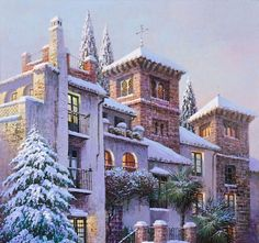 by Luis Romero kK Spanish Painters, Spanish Artists, Fantasy Landscape, Landscape Art, Popular Paintings, Watercolor Architecture, Oil Painting Texture, Purple Art, Cover Photos
