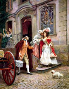 Start Of The Honeymoon Artwork By Jules Girardet Oil Painting & Art Prints On Canvas For Sale Classic Paintings, Old Paintings, Beautiful Paintings, Victorian Paintings, Victorian Art, Art And Illustration, Art Ancien, Art Vintage, Romantic Scenes