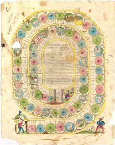 Il Novo et Piacevol Giuoco dell' Occha (The New and Agreeable Game of the Goose), 18th century. Game board with numbered pictorial compartments from 1 to 63 in a spiral, in the centre the rules of the game. Hand-coloured etching