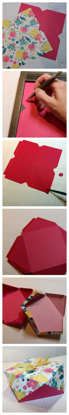 Faceted Gift Box Made with the Envelope Punch Board from Stampin' Up! (1) Create two square envelope templates (same size) (2) Score along each edge (same depth as the divot) (3) Snip out the corners (cut on the score lines) (4) Add sticky strip to each 'tab' and fold inward on all score lines (5) Invert the top square onto the bottom and begin adhering alternating tab (leave enough tabs open to put your gift inside)! (6) Finish adhering and tie | http://scrapbookphotos.kira.lemoncoin.org