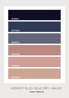 Bedroom Colour Palette, Blue Colour Palette, Bedroom Color Schemes, Bedroom Colors, Colour Schemes, Color Combos, Colour Match, Mauve Color, Mauve Walls
